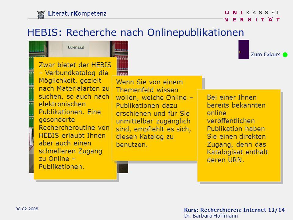 HEBIS: Recherche nach Onlinepublikationen