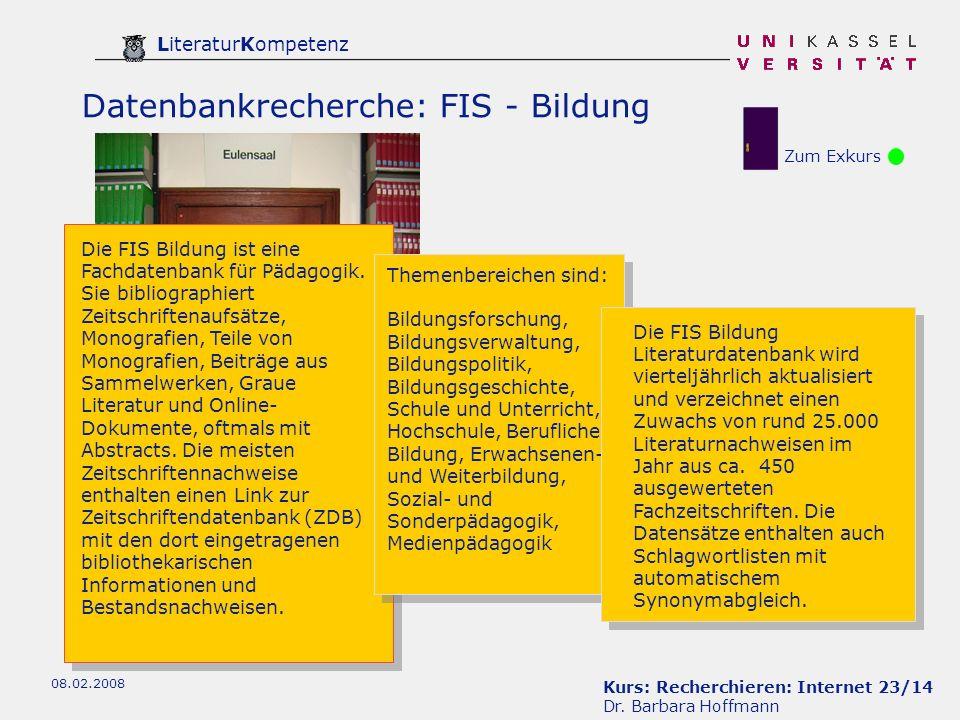 Datenbankrecherche: FIS - Bildung