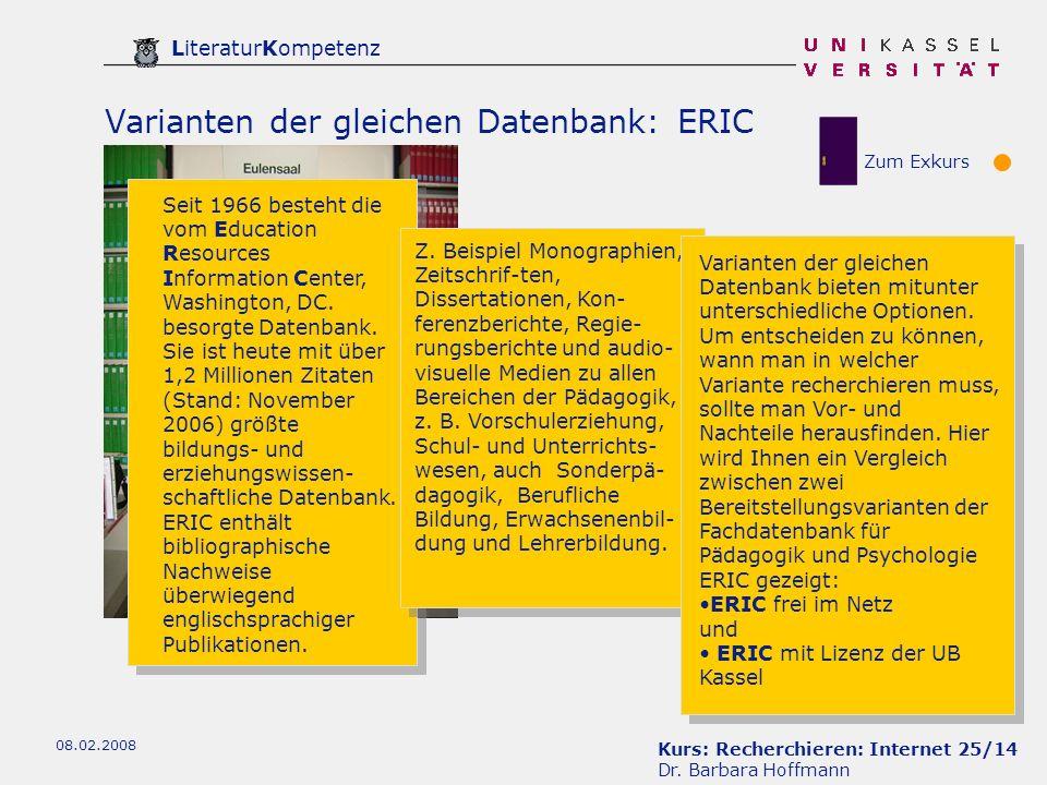Varianten der gleichen Datenbank: ERIC