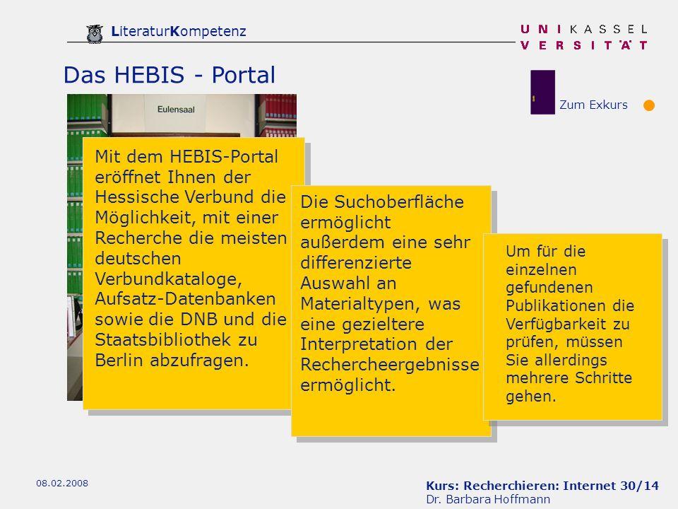 Das HEBIS - Portal Zum Exkurs.