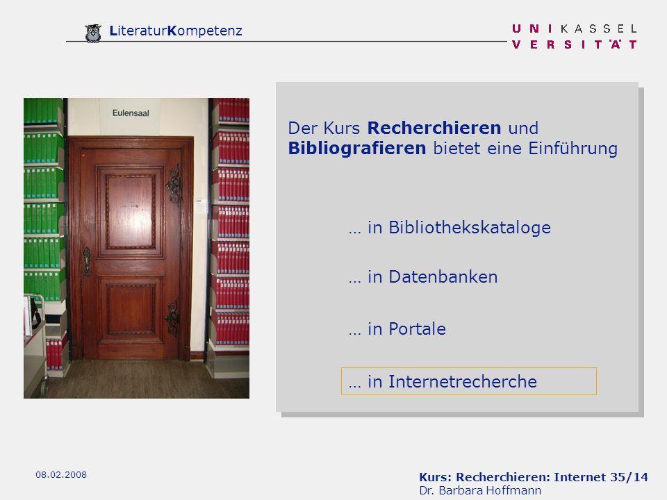 Der Kurs Recherchieren und Bibliografieren bietet eine Einführung