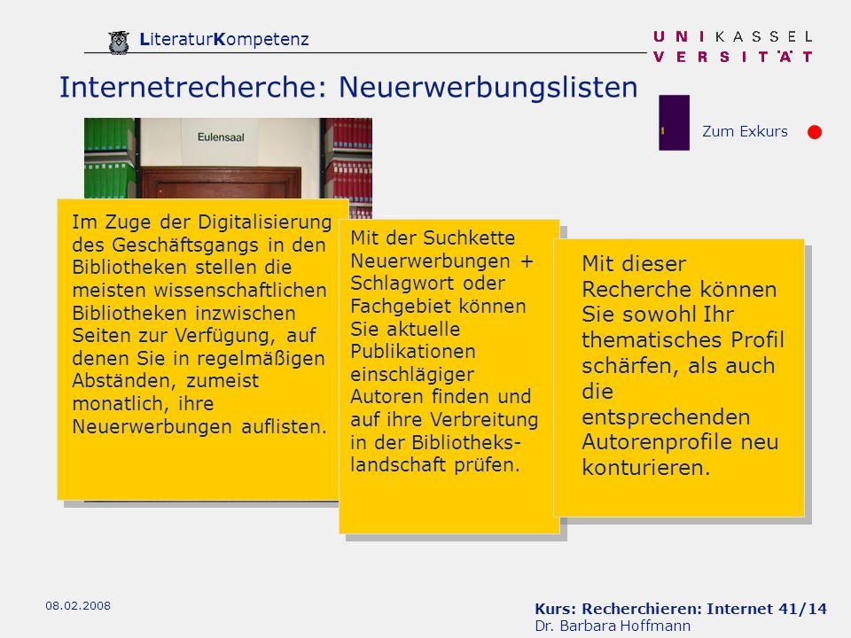 Internetrecherche: Neuerwerbungslisten