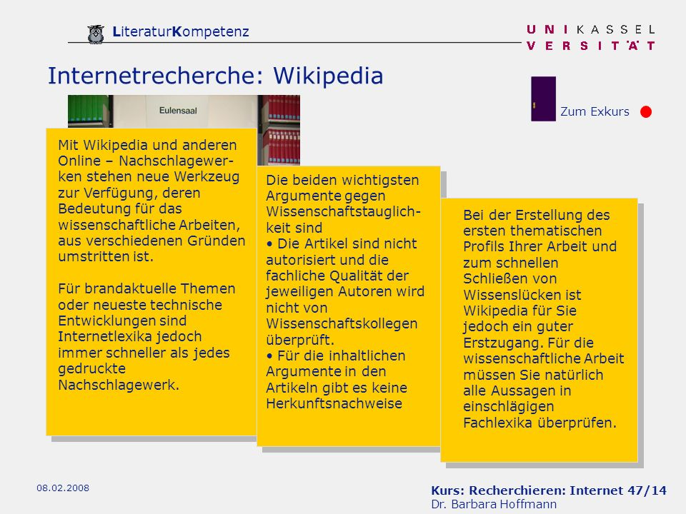 Internetrecherche: Wikipedia