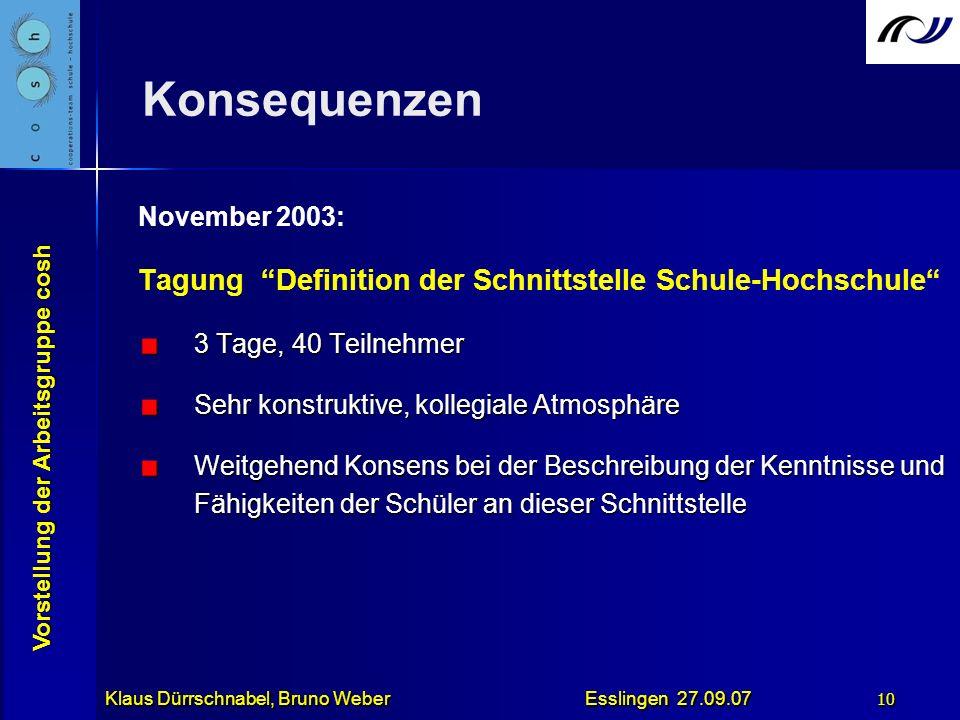 Konsequenzen Tagung Definition der Schnittstelle Schule-Hochschule