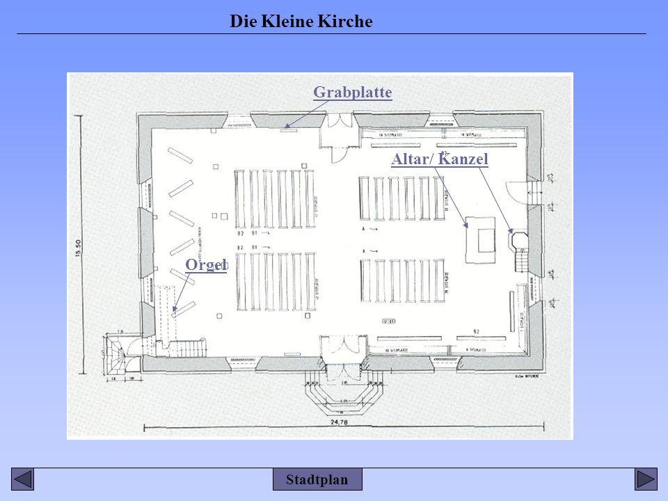 Grabplatte Altar/ Kanzel Orgel Stadtplan