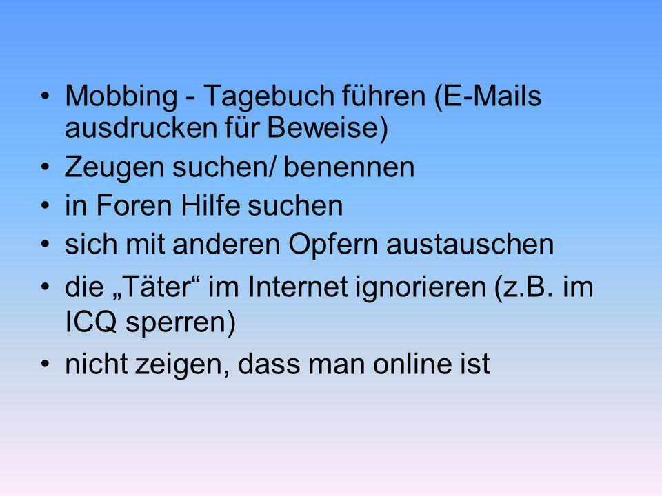 Mobbing - Tagebuch führen (E-Mails ausdrucken für Beweise)