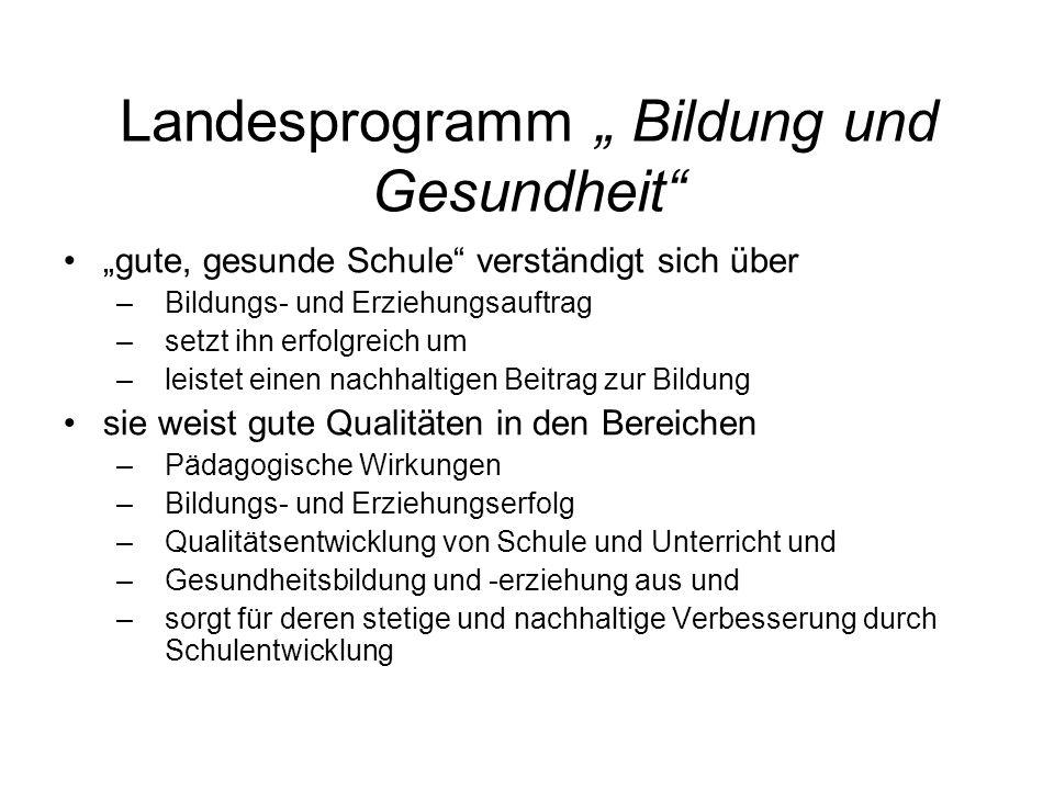 """Landesprogramm """" Bildung und Gesundheit"""