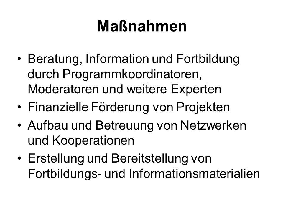 MaßnahmenBeratung, Information und Fortbildung durch Programmkoordinatoren, Moderatoren und weitere Experten.