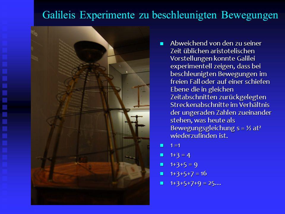 Galileis Experimente zu beschleunigten Bewegungen