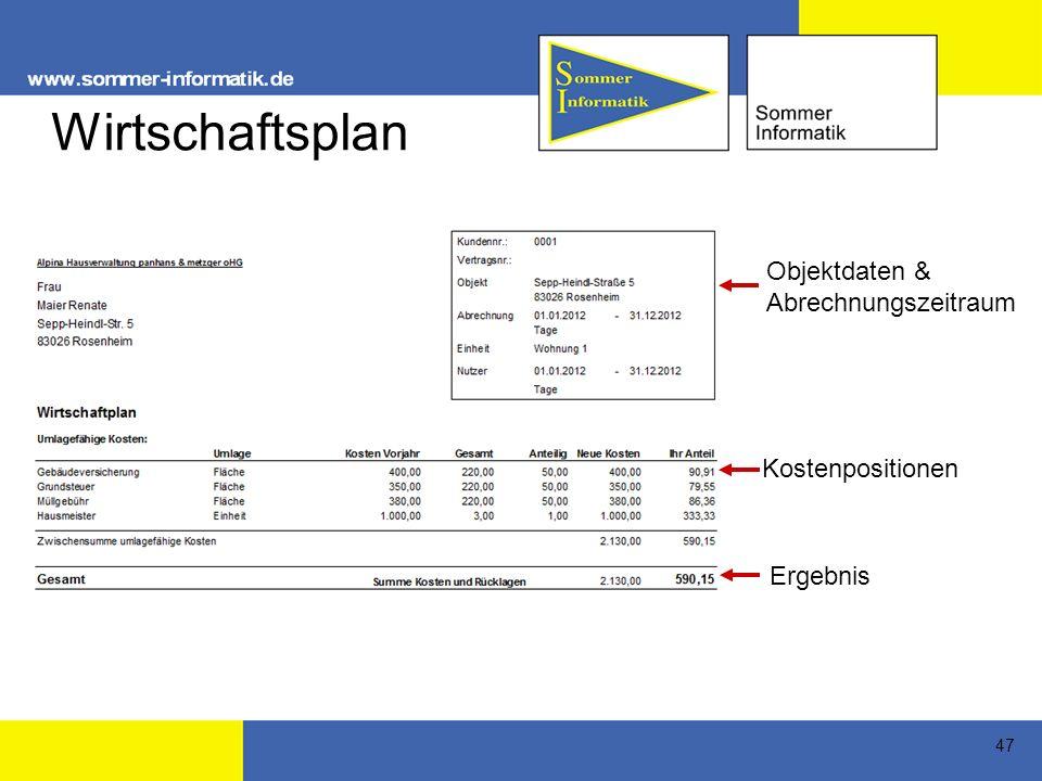 Wirtschaftsplan Objektdaten & Abrechnungszeitraum Kostenpositionen