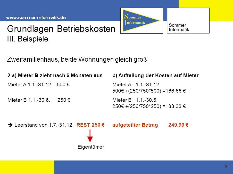 Grundlagen Betriebskosten