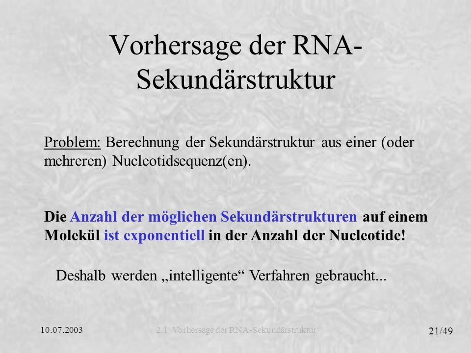 Vorhersage der RNA-Sekundärstruktur