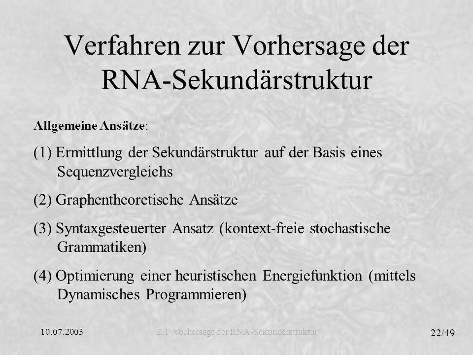 Verfahren zur Vorhersage der RNA-Sekundärstruktur
