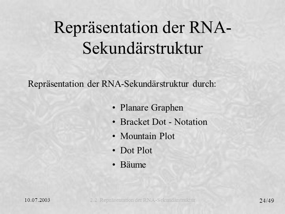 Repräsentation der RNA-Sekundärstruktur
