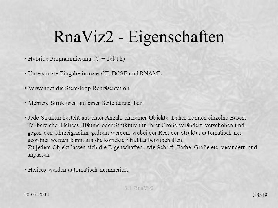 RnaViz2 - Eigenschaften
