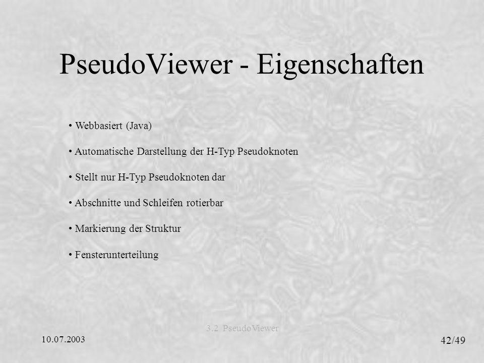 PseudoViewer - Eigenschaften