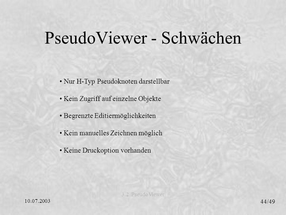 PseudoViewer - Schwächen