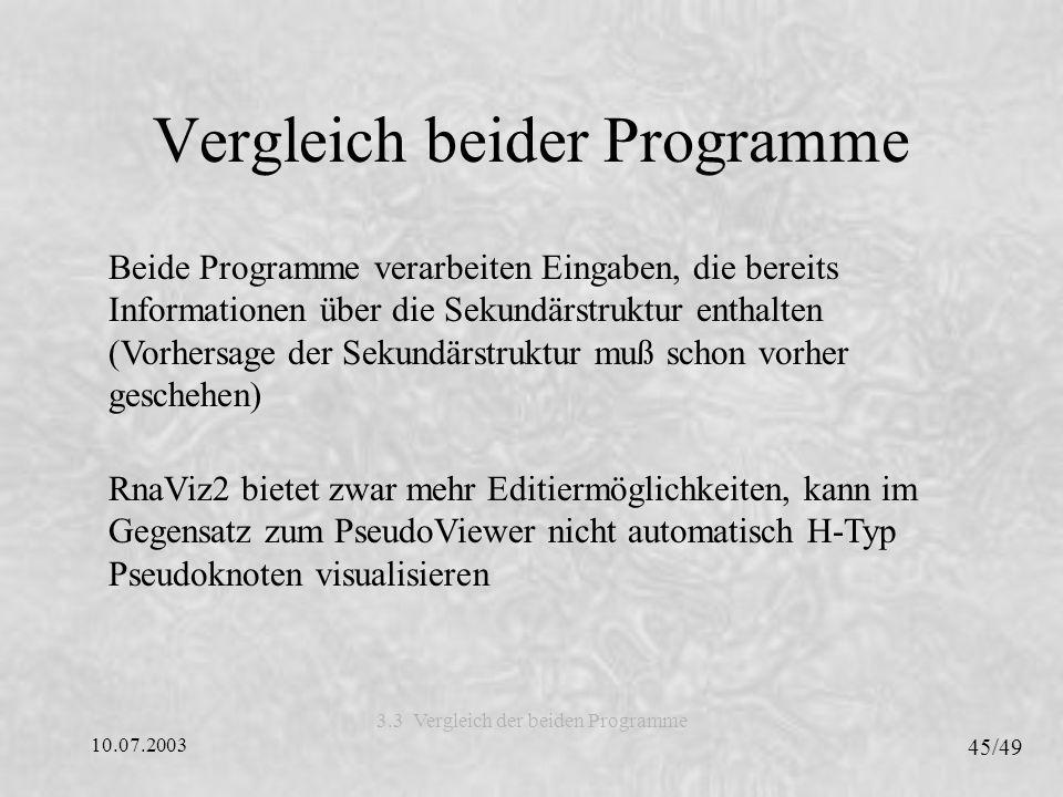 Vergleich beider Programme