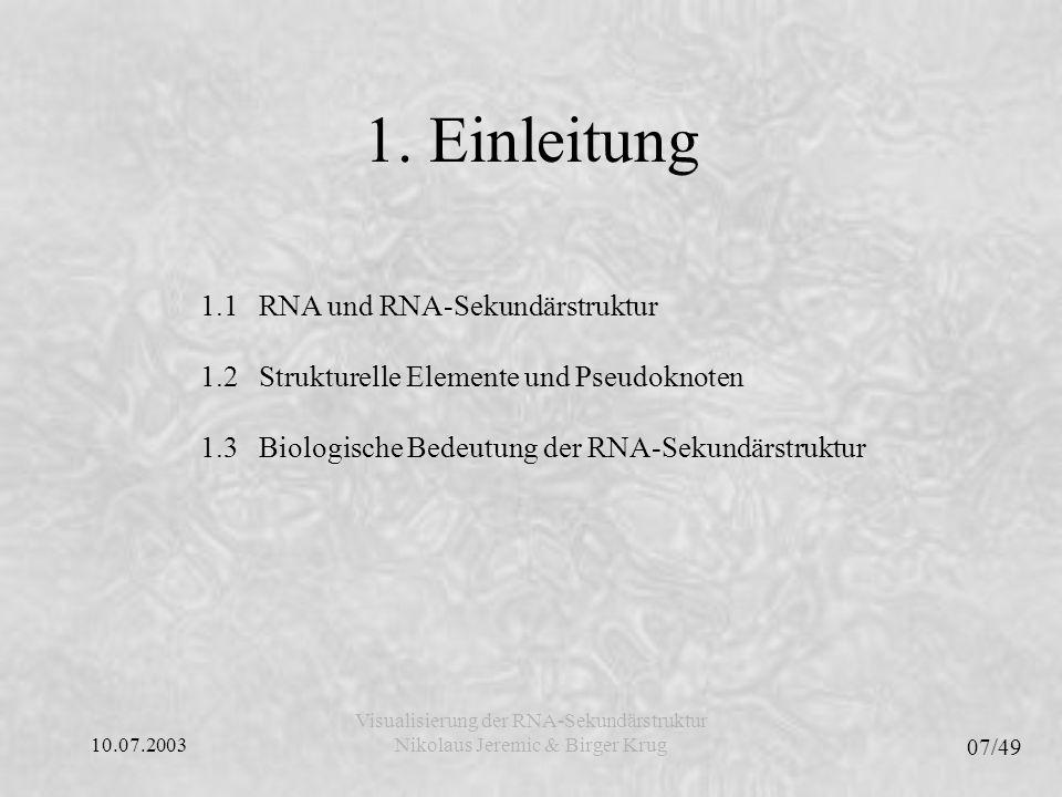 1. Einleitung 1.1 RNA und RNA-Sekundärstruktur