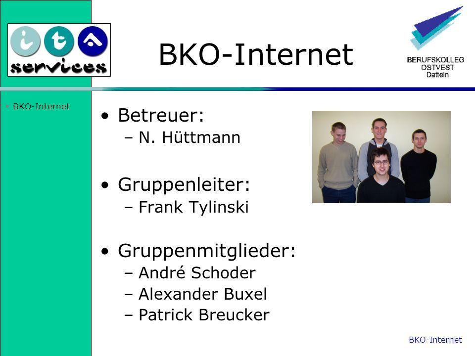 BKO-Internet Betreuer: Gruppenleiter: Gruppenmitglieder: N. Hüttmann