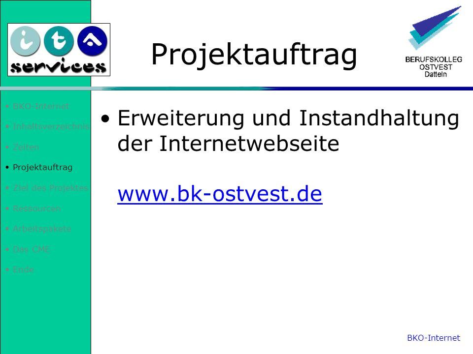 BKO-InternetInhaltsverzeichnis. Zeiten. Projektauftrag. Ziel des Projektes. Ressourcen. Arbeitspakete.