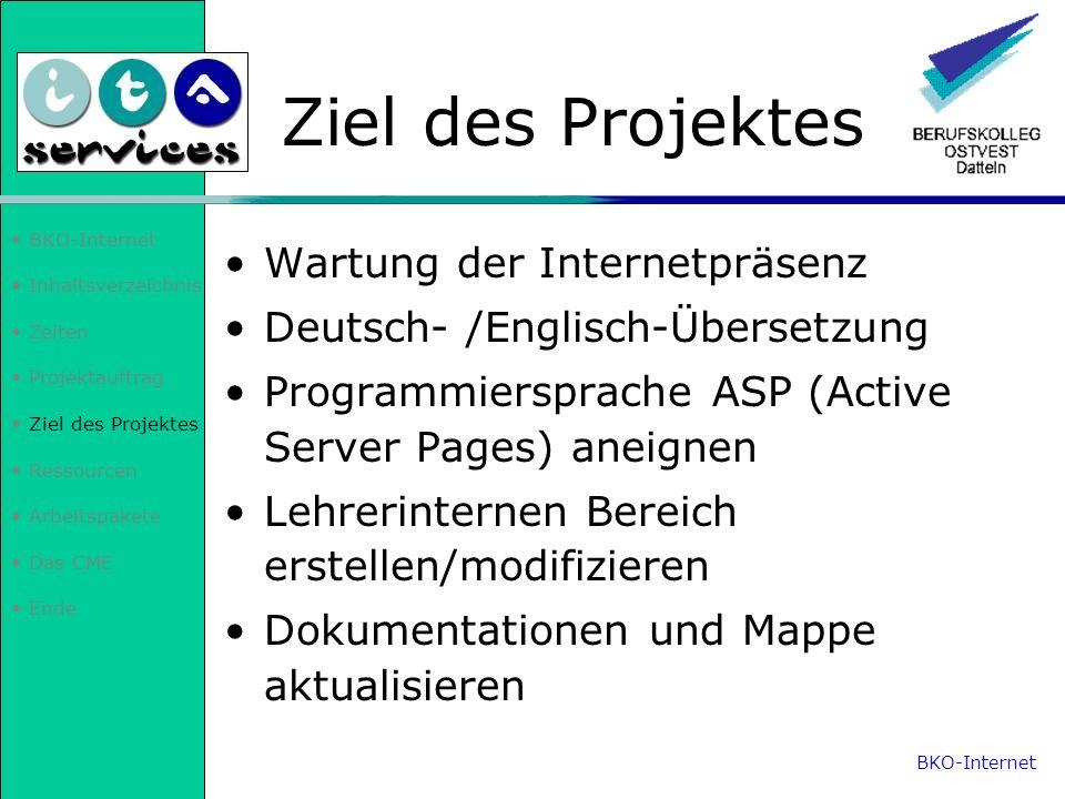 Ziel des Projektes Wartung der Internetpräsenz