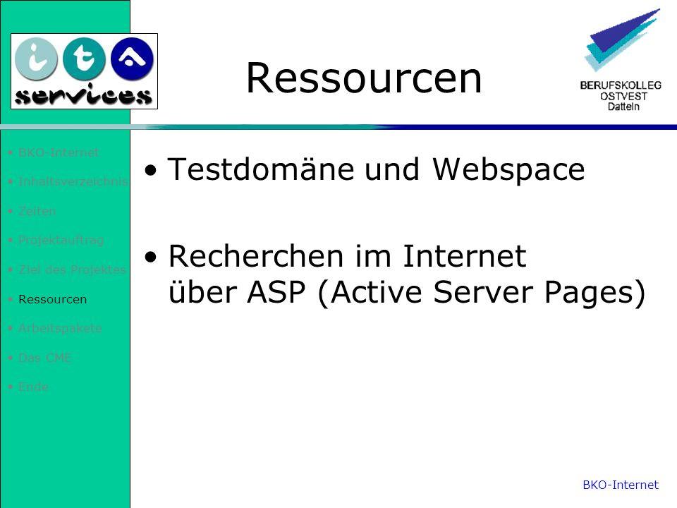 Ressourcen Testdomäne und Webspace