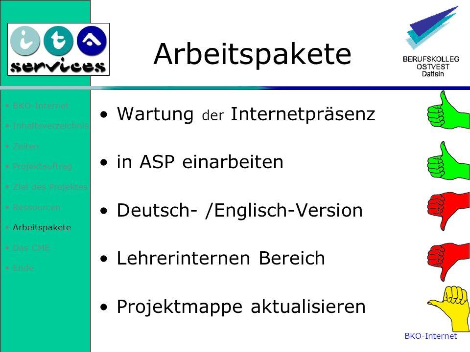 Arbeitspakete Wartung der Internetpräsenz in ASP einarbeiten
