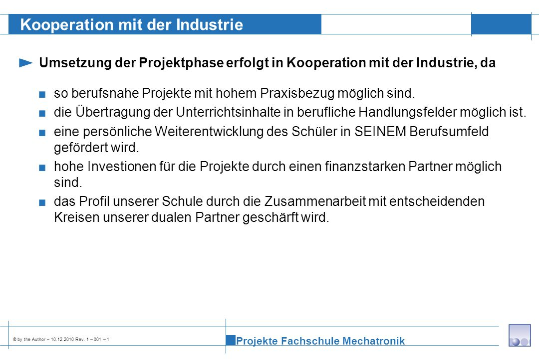 Kooperation mit der Industrie