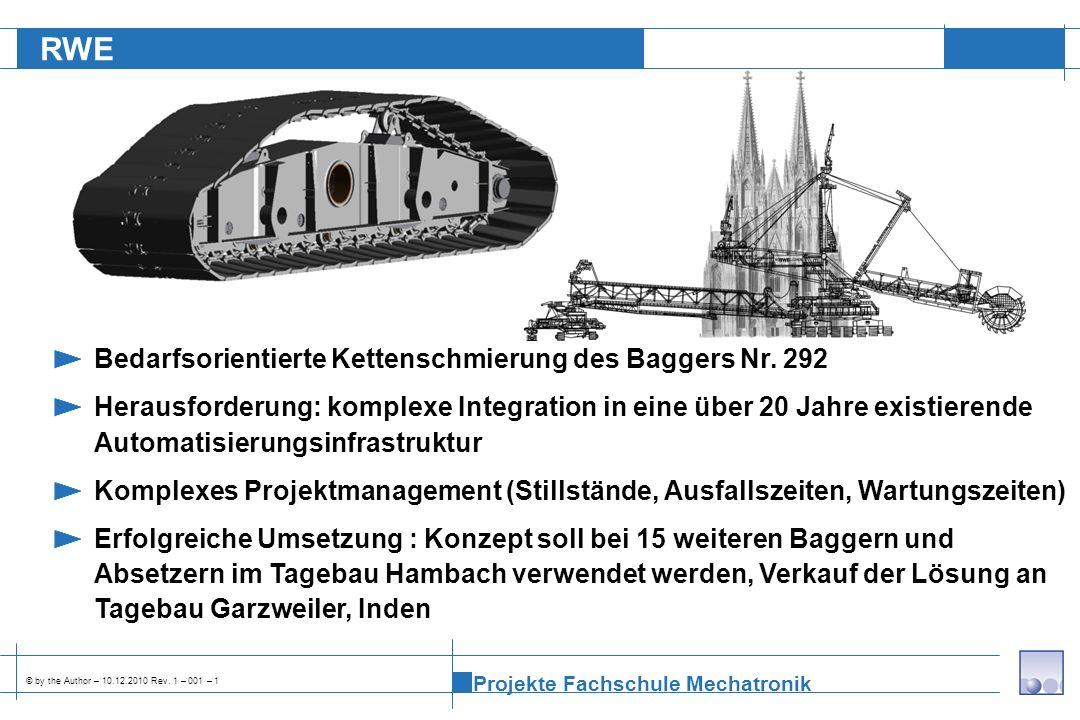 RWE Bedarfsorientierte Kettenschmierung des Baggers Nr. 292