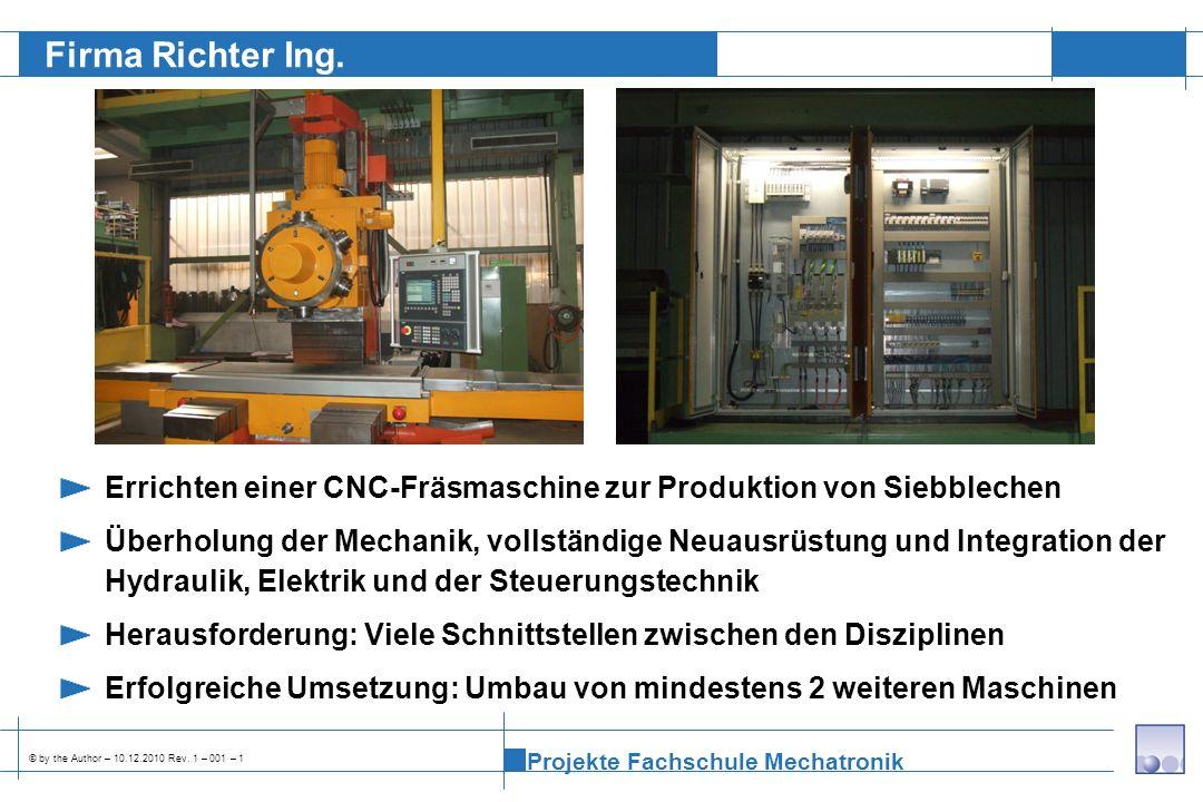 Firma Richter Ing. Errichten einer CNC-Fräsmaschine zur Produktion von Siebblechen.