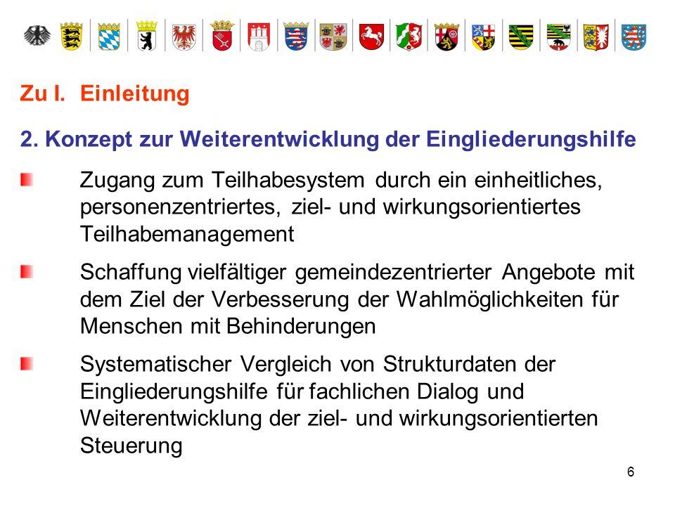 Zu I. Einleitung 2. Konzept zur Weiterentwicklung der Eingliederungshilfe.