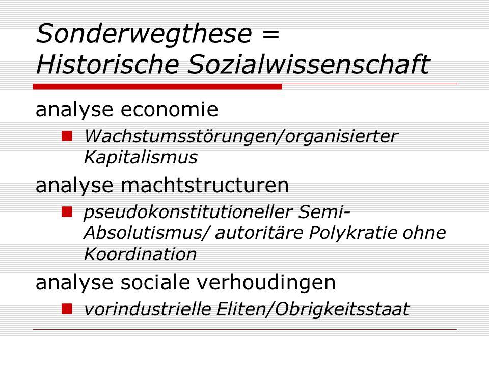 Sonderwegthese = Historische Sozialwissenschaft