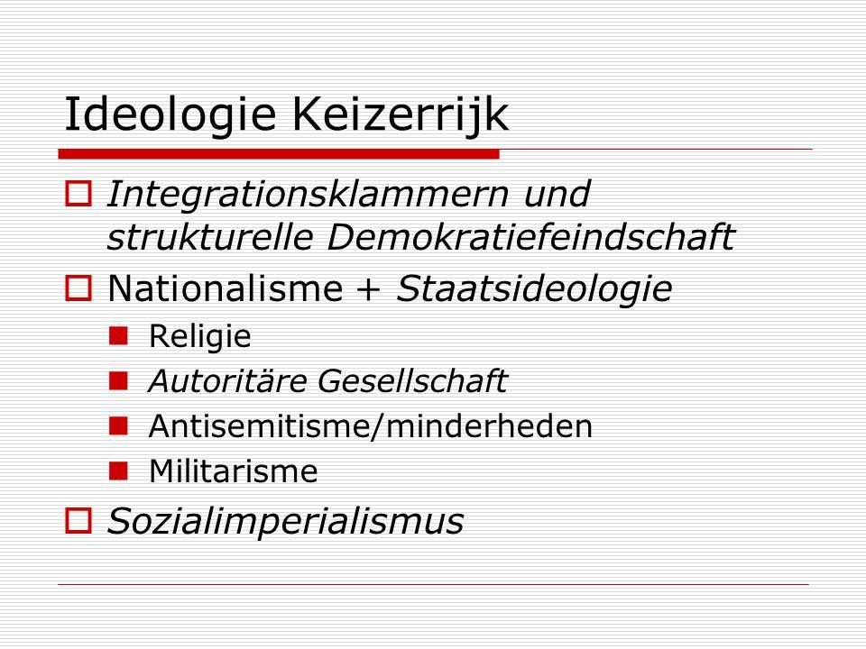 Ideologie Keizerrijk Integrationsklammern und strukturelle Demokratiefeindschaft. Nationalisme + Staatsideologie.