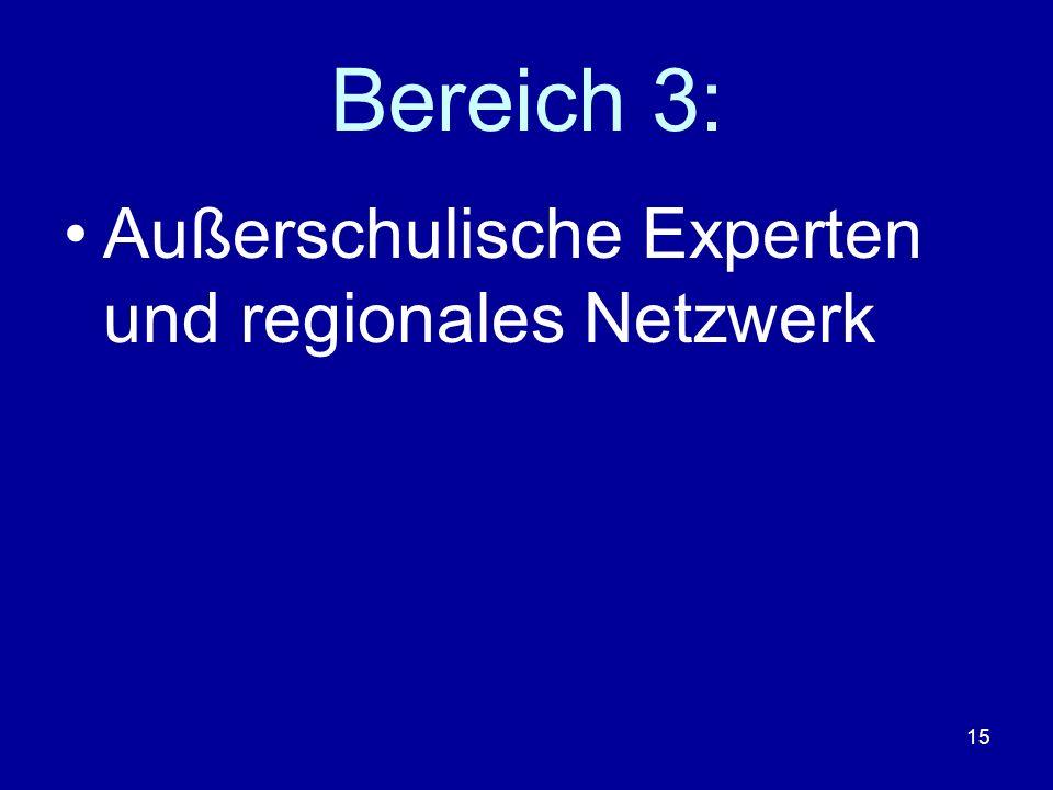 Bereich 3: Außerschulische Experten und regionales Netzwerk