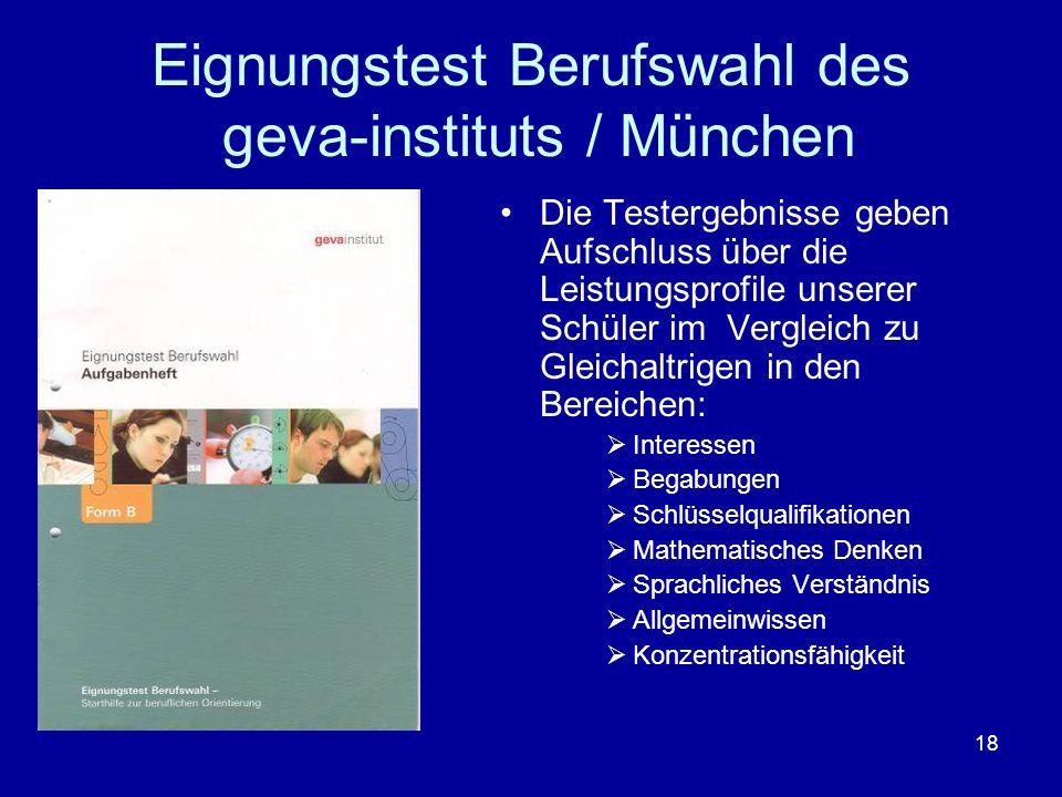 Eignungstest Berufswahl des geva-instituts / München