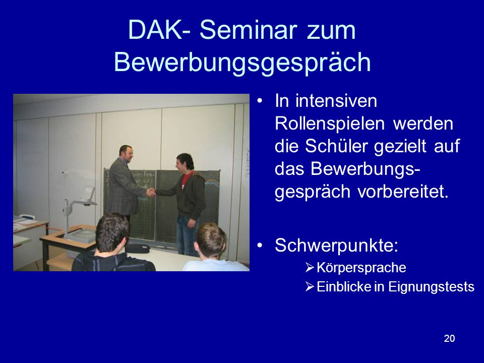 DAK- Seminar zum Bewerbungsgespräch
