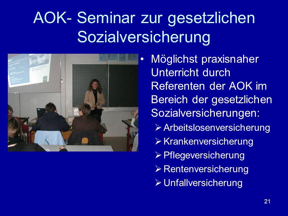 AOK- Seminar zur gesetzlichen Sozialversicherung