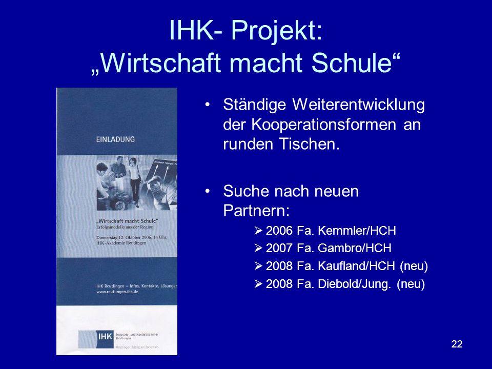 """IHK- Projekt: """"Wirtschaft macht Schule"""