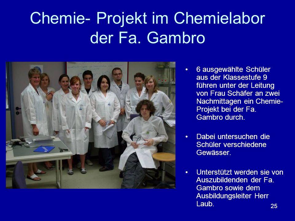 Chemie- Projekt im Chemielabor der Fa. Gambro