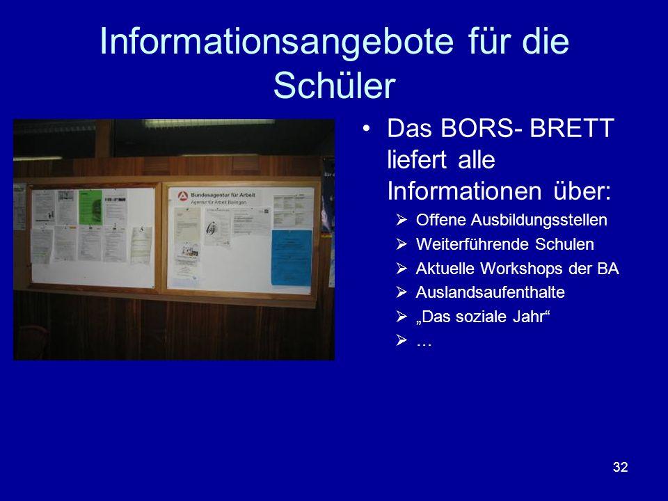 Informationsangebote für die Schüler