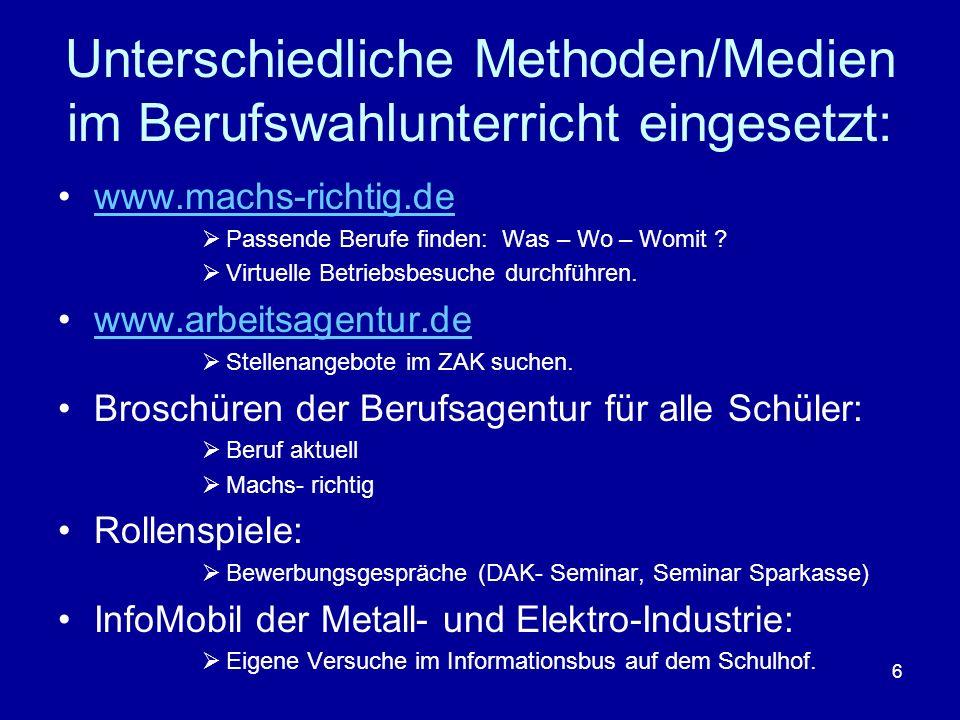 Unterschiedliche Methoden/Medien im Berufswahlunterricht eingesetzt: