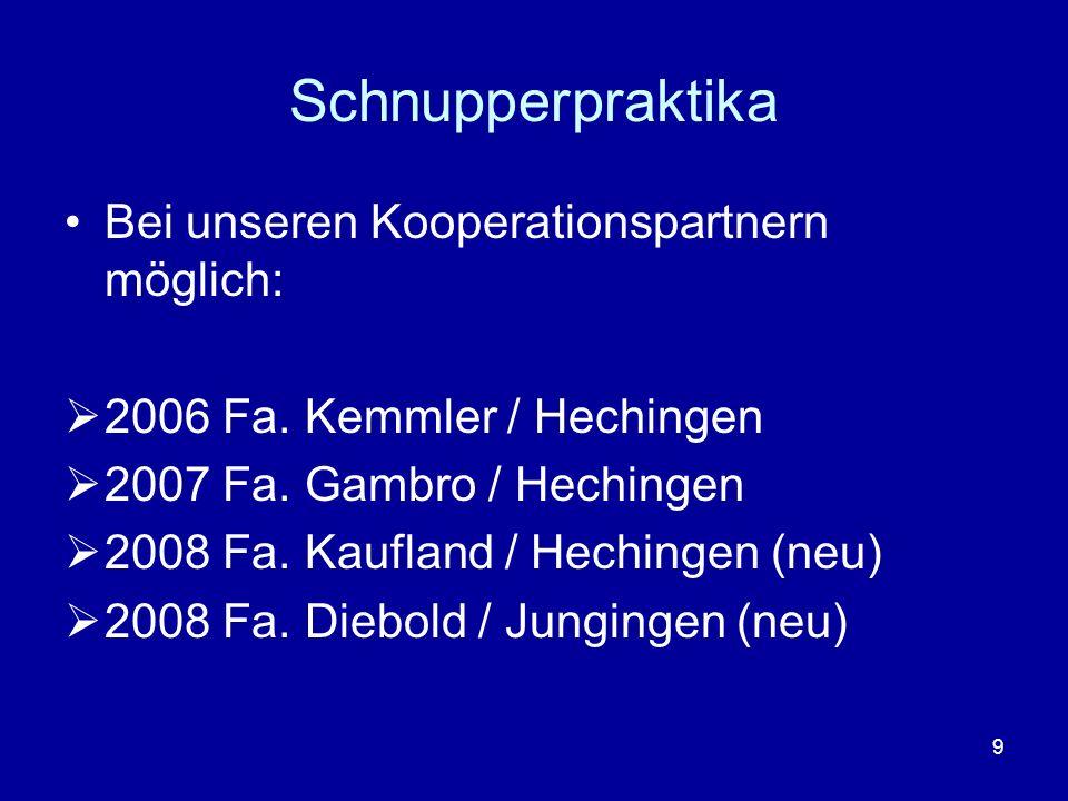 Schnupperpraktika Bei unseren Kooperationspartnern möglich: