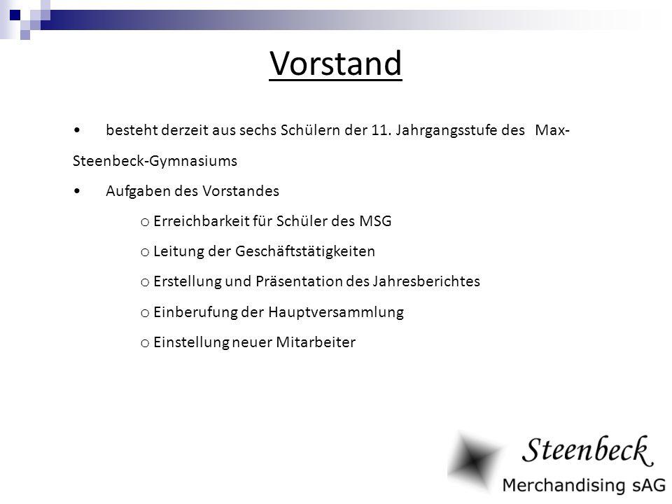 Vorstand besteht derzeit aus sechs Schülern der 11. Jahrgangsstufe des Max-Steenbeck-Gymnasiums. Aufgaben des Vorstandes.