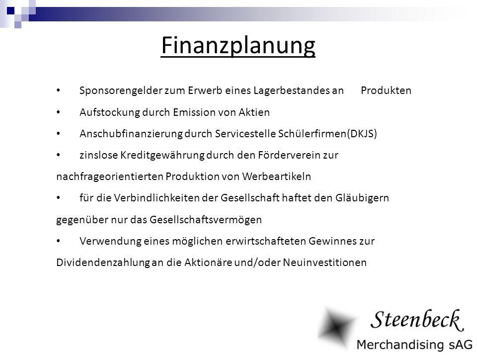Finanzplanung Sponsorengelder zum Erwerb eines Lagerbestandes an Produkten. Aufstockung durch Emission von Aktien.
