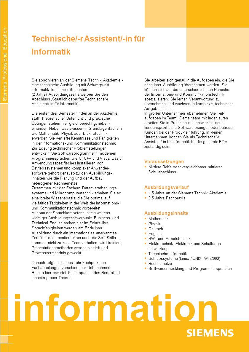 information Technische/-r Assistent/-in für Informatik