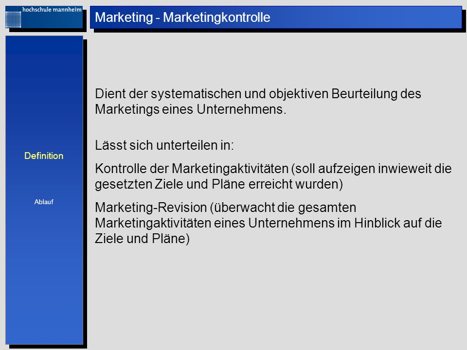 Marketing - Marketingkontrolle