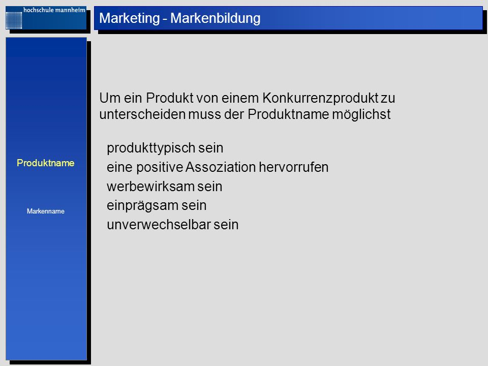 Marketing - Markenbildung