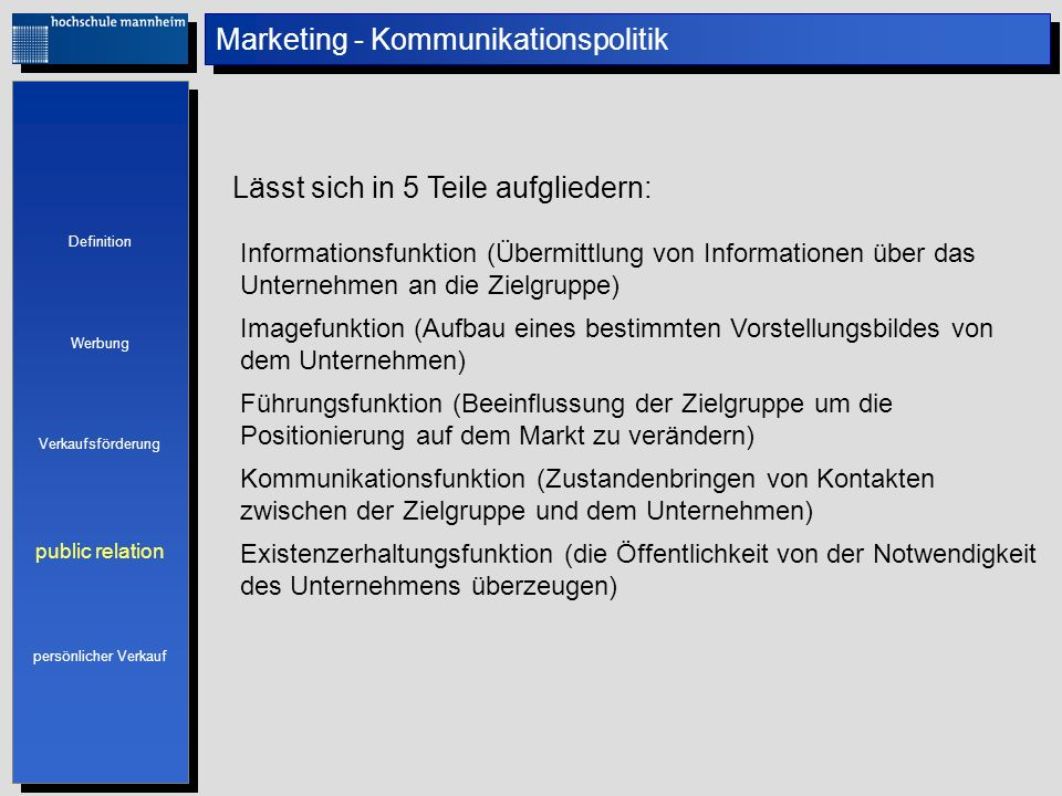 Marketing - Kommunikationspolitik