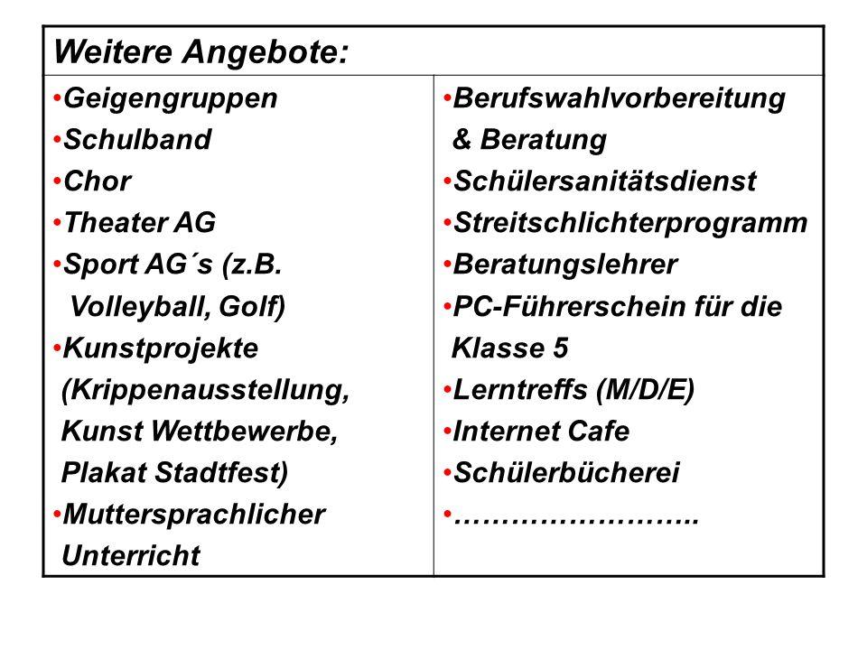 Weitere Angebote: Geigengruppen Schulband Chor Theater AG